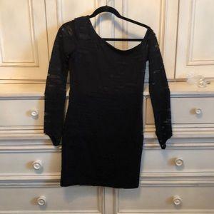 Kittenish Asymmetrical sleeves black mini dress